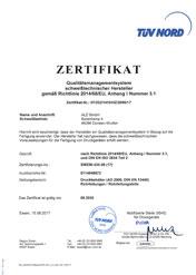 Zertifikat DGRL / DIN EN ISO 3834-2